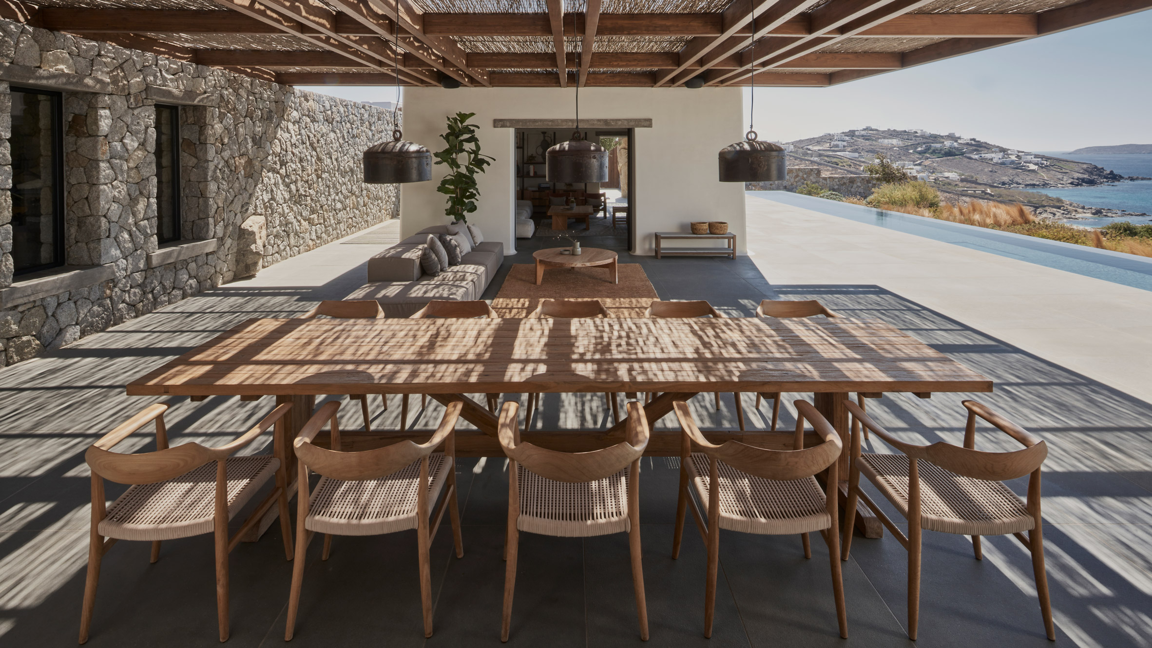 Dining table outdoors in Greek holiday home
