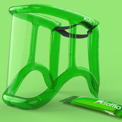 Soffio inflatable face shield by MARGstudio, Alessio Casciano Design and Angeletti Ruzza