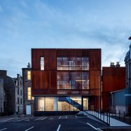 Moxon Architects adds perforated weathering steel extension to Aberdeenshire Council HQ