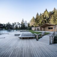 Cafe and changing room alongside Völser Weiher Lake in South Tyrol by Network of Architecture
