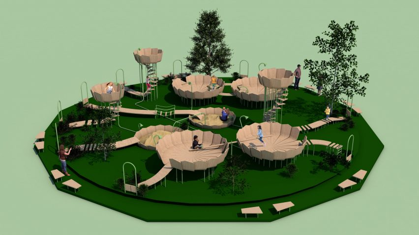 "Rimbin is an ""infection-free"" playground concept inspired by water lilies"