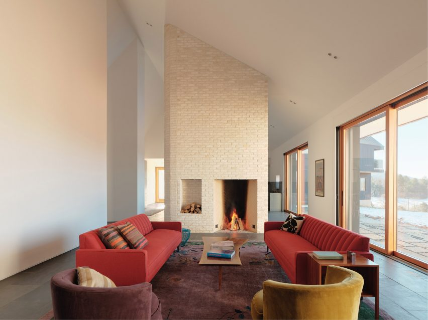 Pale brick fireplace in modern living room