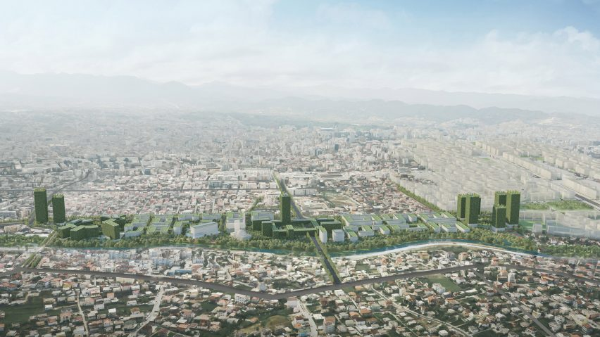 Tirana Riverside, coronavirus-resilient neighbourhood in Tirana, Albania, by Stefano Boeri Architetti