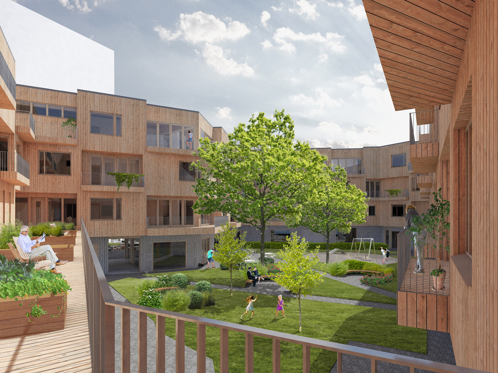 Wooden housing block by Valentin Valotie
