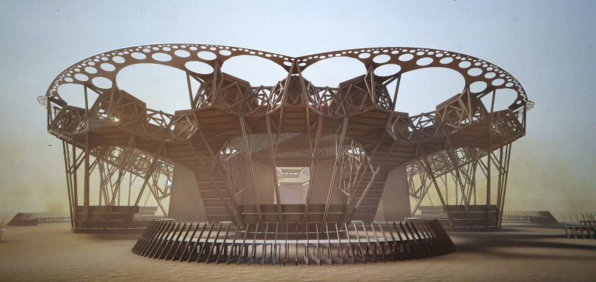 Live VR tour of Arthur Mamou-Mani's Catharsis amphitheatre as part of Virtual Design Festival