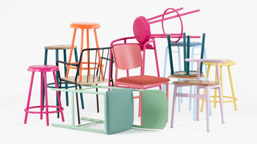Division Twelve creates powder-coated bent-metal furniture for the contract market that comes in an array of bright colours