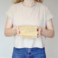 """Eliza Hague designs inflatable origami-like """"greenhouse villages"""" from bamboo and shellac"""
