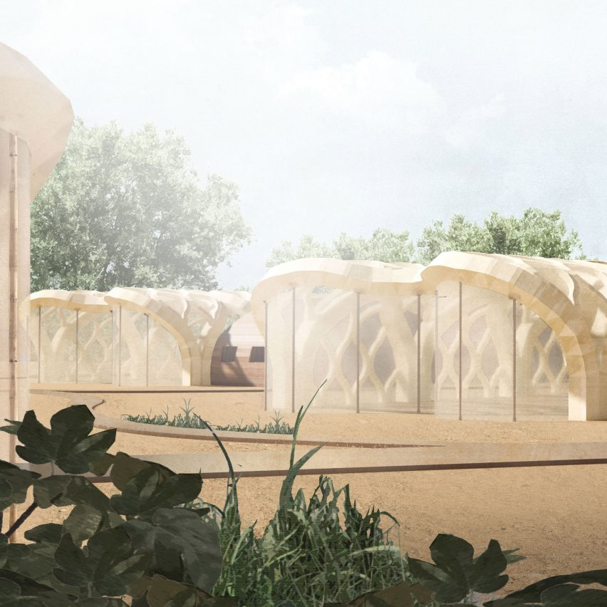 "Eliza Hague designs inflatable origami-like ""greenhouse villages"" from bamboo and shellac"
