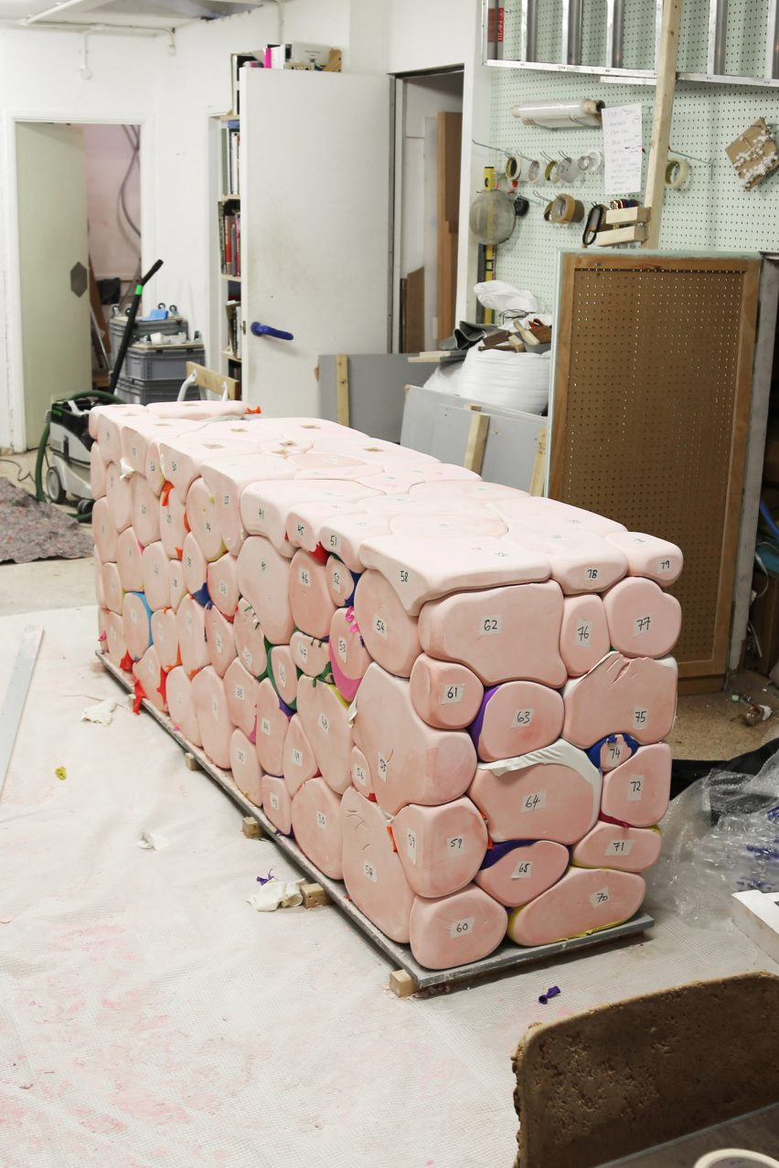 Hem reveals design process behind Soft Baroque's Puffy Brick counter