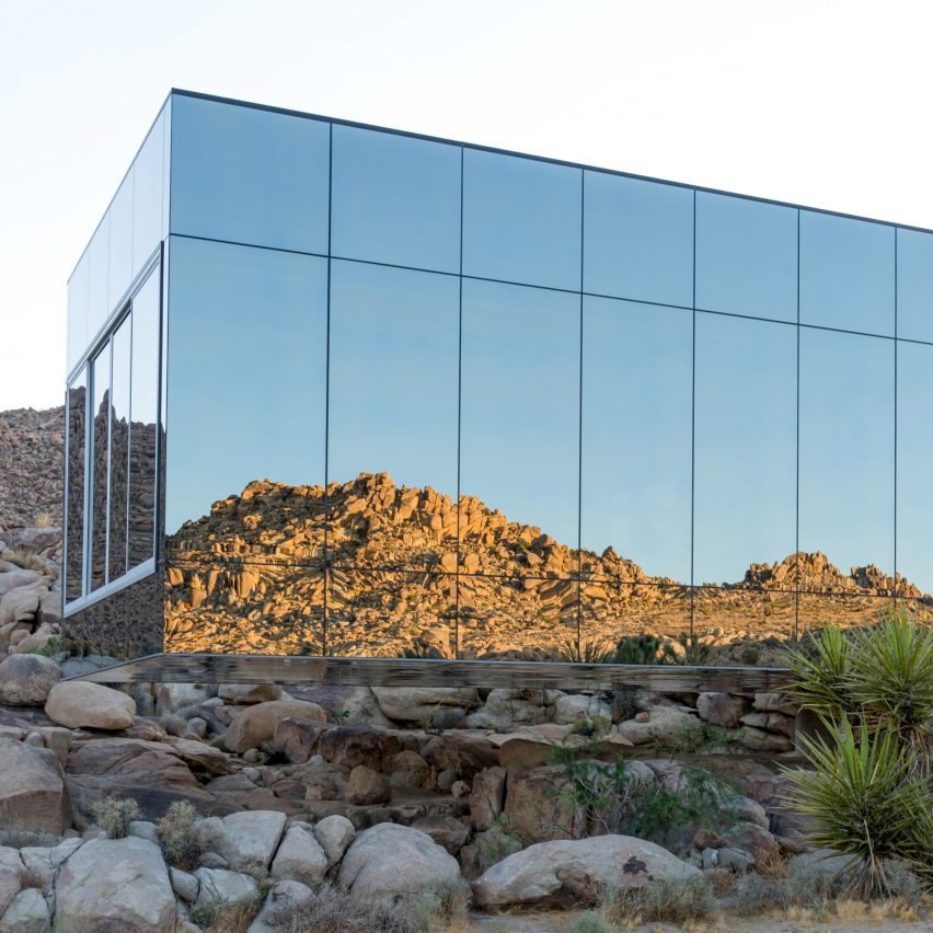 A house with mirrored glass cladding