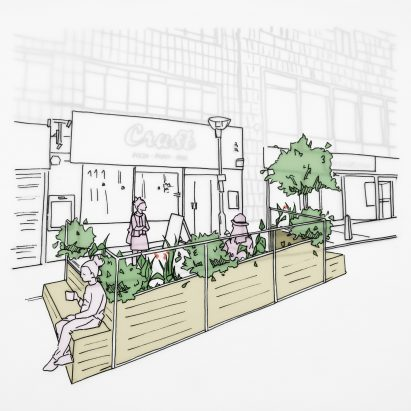 Liverpool Without Walls outdoor seating parklets by Arup