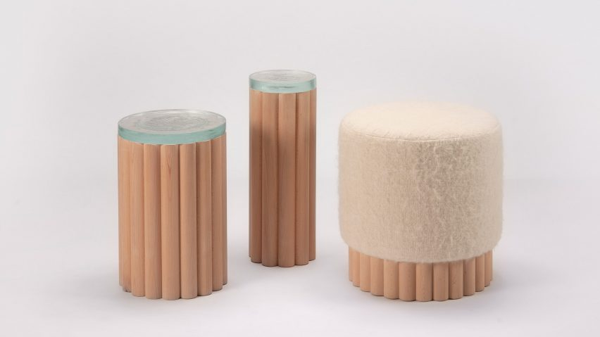 Cylindrical furniture made from beech wood dowels