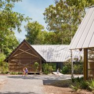 Pine pavilions form Marine Education Center in Mississippi by Lake Flato Architects