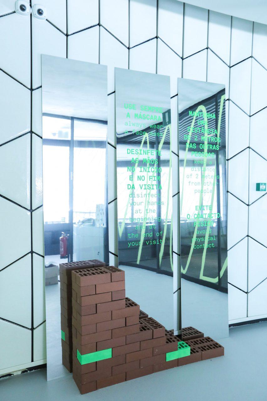 Social distancing installation at MAAT by Sam Barrow