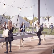 Curl la Tourelle Head's concept for pop-up teaching spaces could expand capacity for socially distanced learning