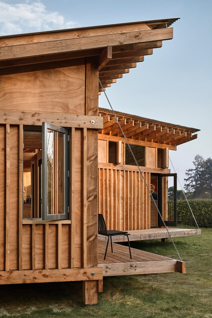 Exposed timber cabin in Drenthe, the Netherlands, by Crafted Works