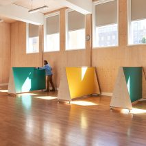 Social-distancing furniture for Charles Dickens Primary School by UNIT Fabrications