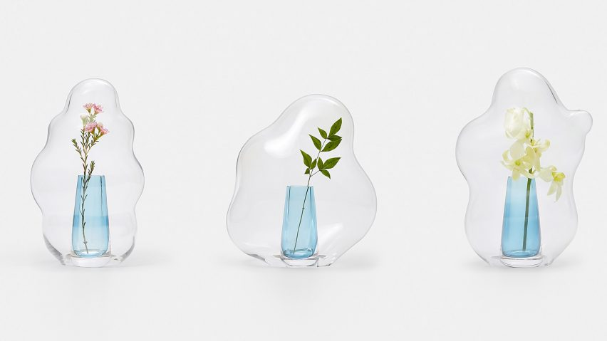 "Yuhsien designs glass ""flower hoods"" informed by bubbles and mochi cake"
