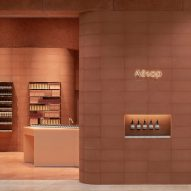 Aesop's London store takes its colour from the red sandstone of Glamis Castle