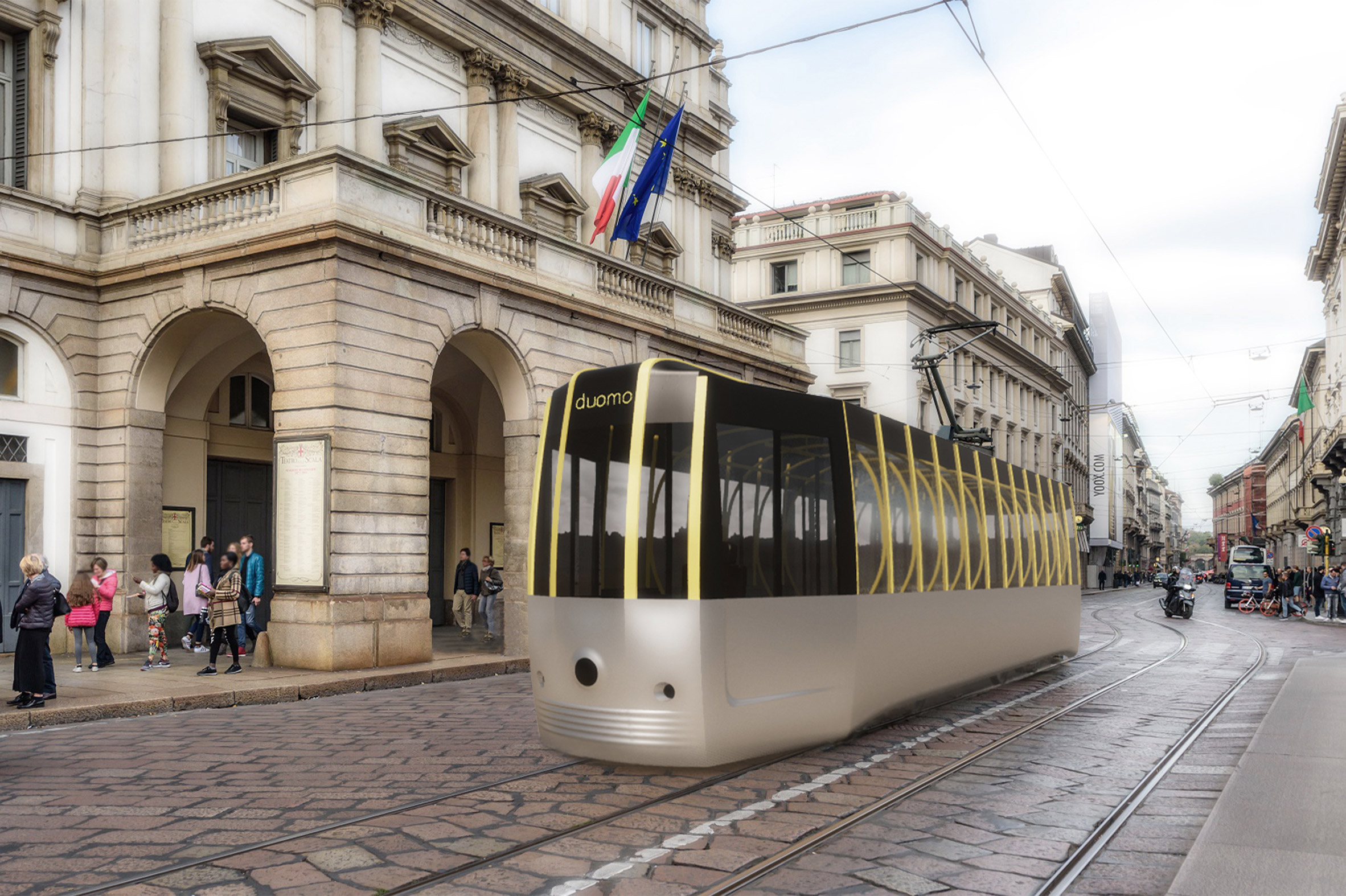 Arturo Tedeschi redesigns the historic ATM Class 1500 tram for a post-Covid world