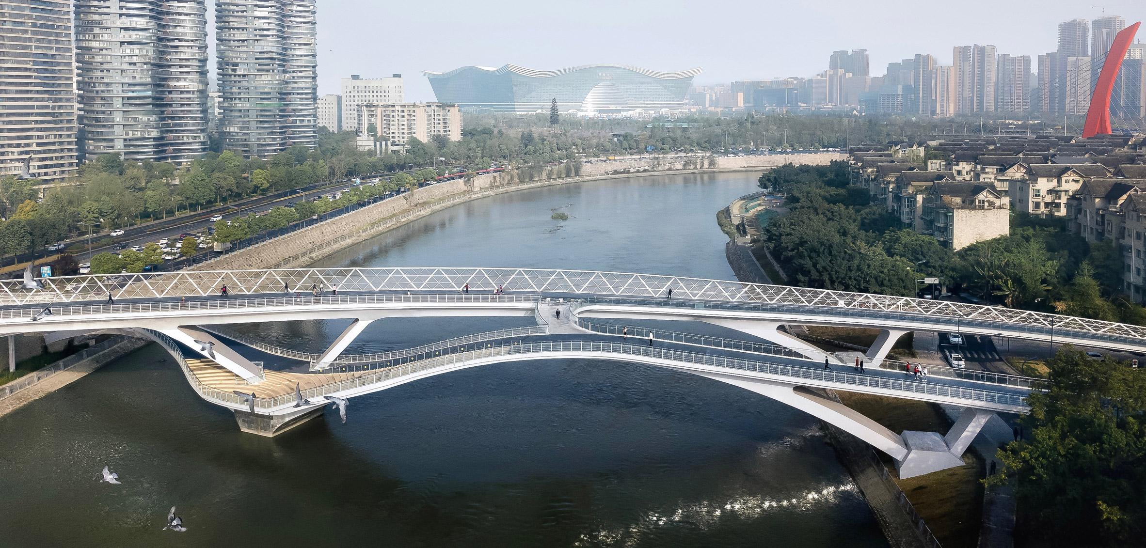 Wuchazi Bridge in Chengdu by architects Tom Wünschmann, Achim Kaufer, Wei Cai and Philipp Buschmeyer and Chinese design institutes SADI and JDTM
