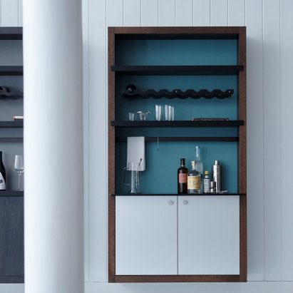 Color Box Bar shelving unit by Henrybuilt