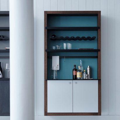 Color Box Bar shelving unit by Henrybuilt