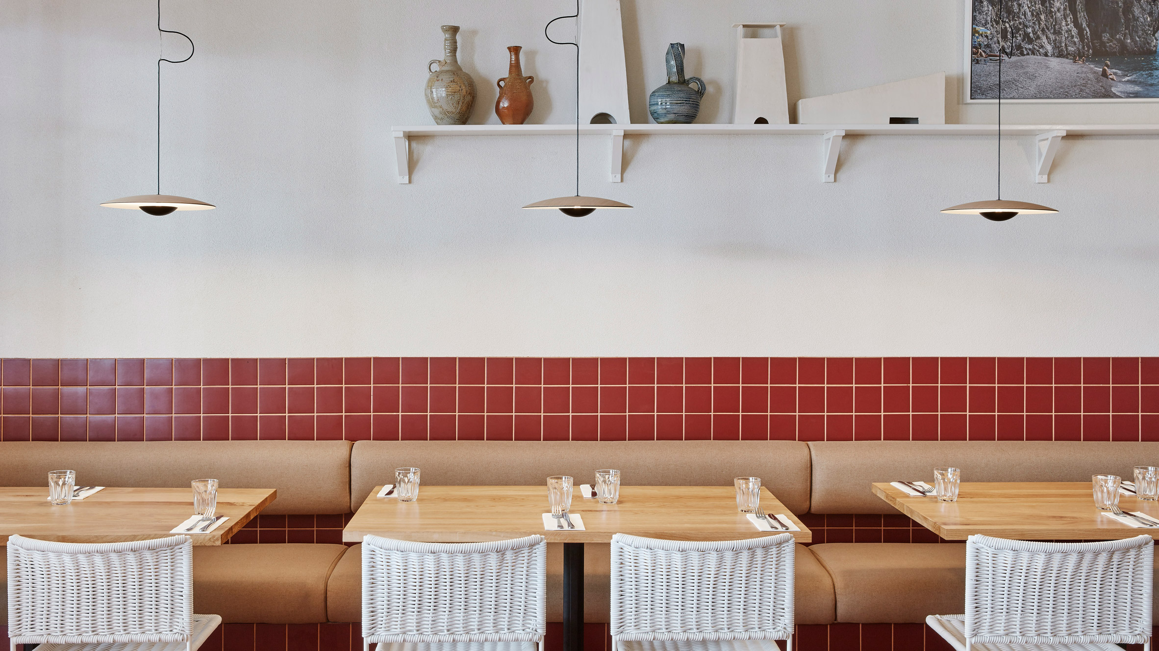 Burnt Red Tiles And Hessian Feature Inside Dough Pizza Restaurant In Perth,Rustic Country Chic Bathroom Decor