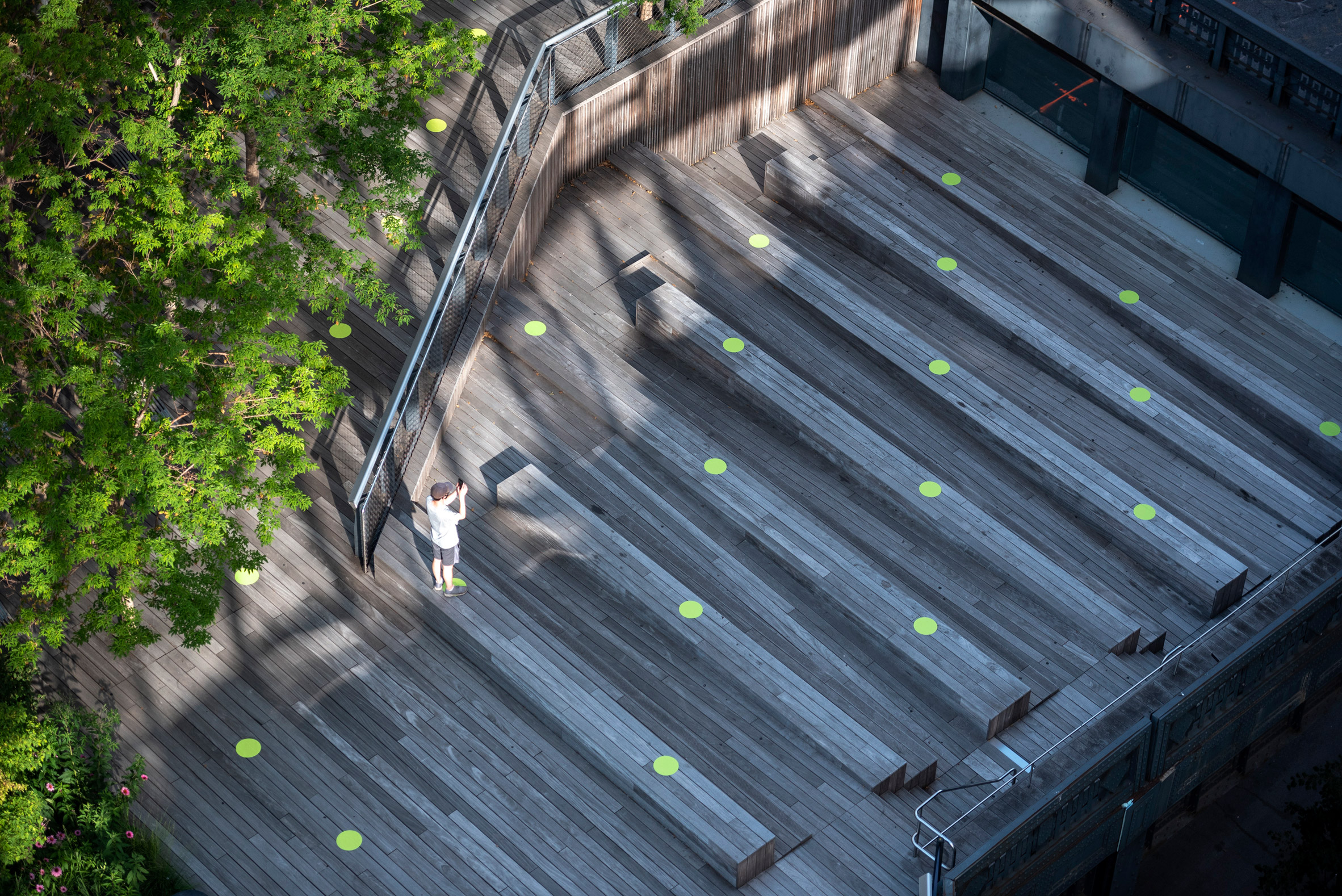 Paula Scher covers High Line in green dots to encourage social distancing