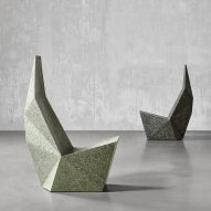 Six sculptural concrete seats including liquid-like chairs and squashed benches