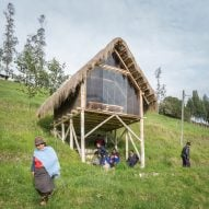 David Guambo builds his stilted studio Kusy Kawsay in Ecuadorian hillside