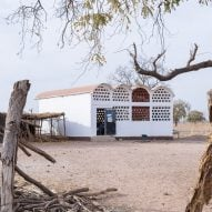 Perforated-brick school created from hospital test facade in Senegal