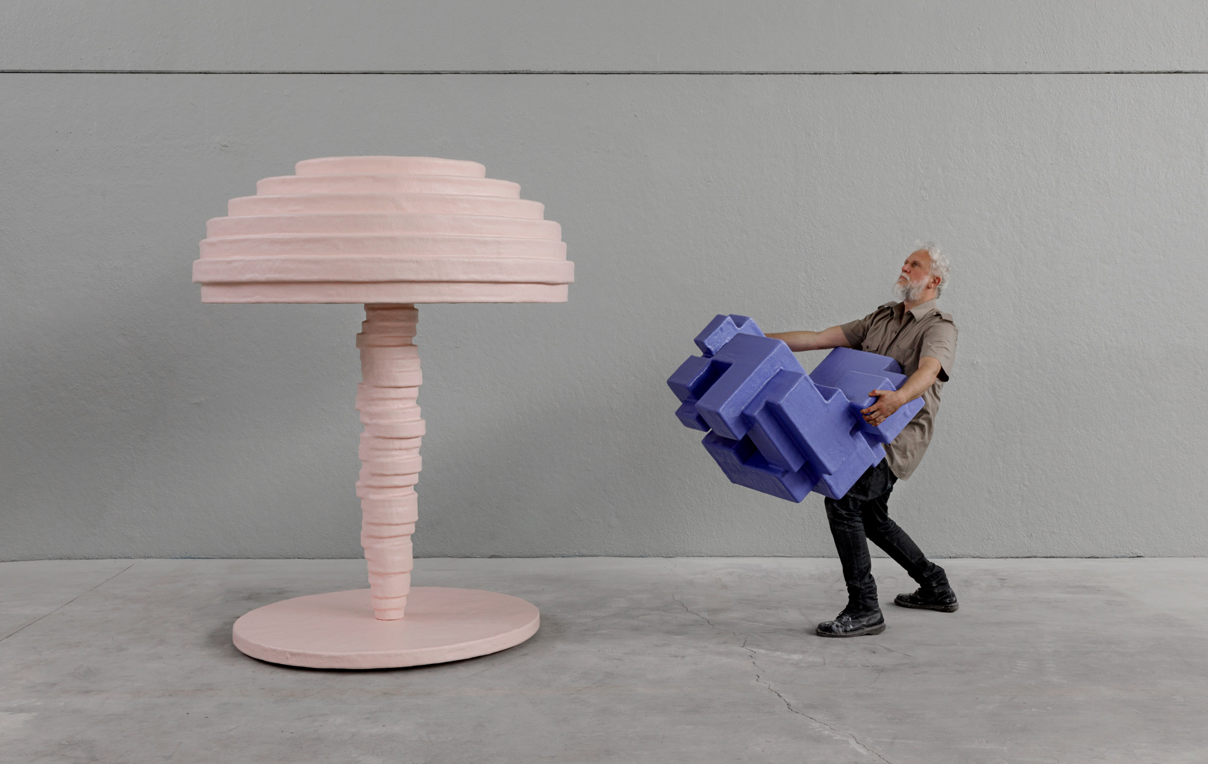 Studio Nucleo animates geometric Primitive furniture with pastel hues for Nilufar Gallery