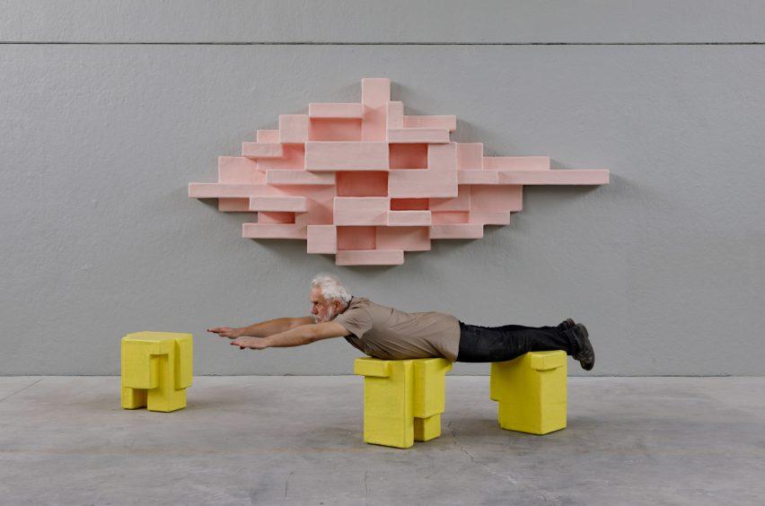 Studio Nucleo animates geometric Primitive furniture with pastel hues for Nilufar Gallery
