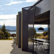 Black shutters and concrete wall conceal Te Pakeke retreat in New Zealand