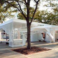 Oyler Wu Collaborative repurposes Eero Saarinen bank teller canopies for installation