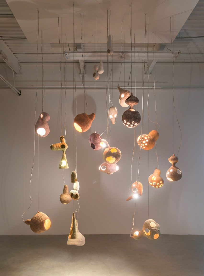 "Yuko Nishikawa forms ""floating"" amorphous lights from shells of clay and paper"