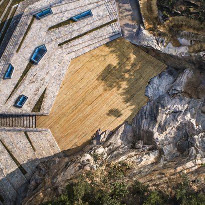 Grandstand set around cliff