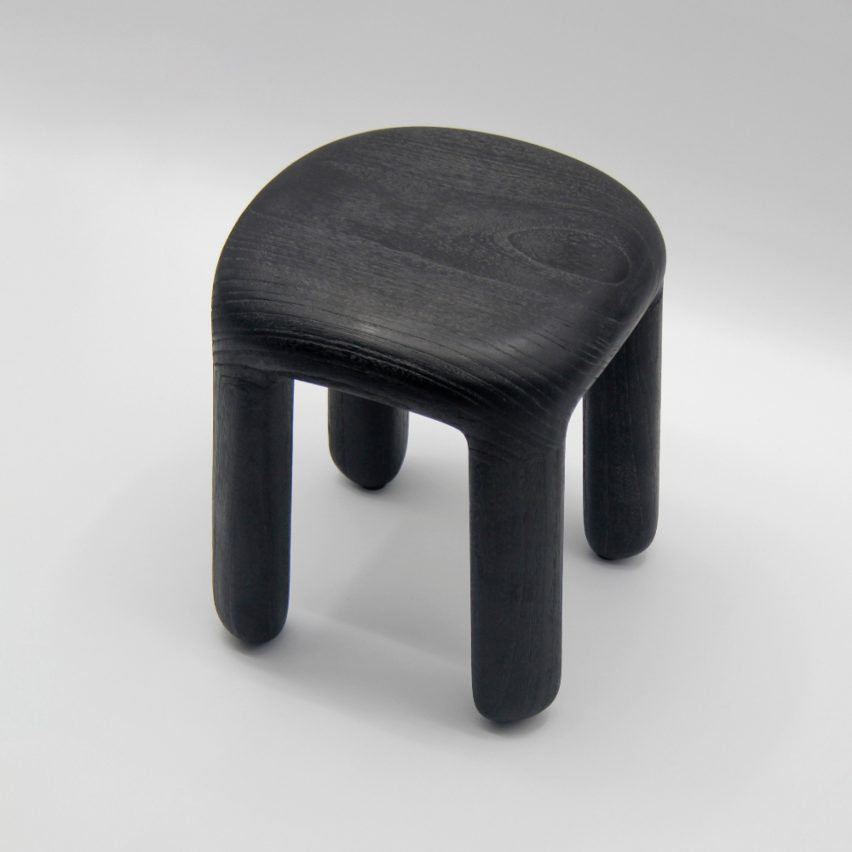 BOLD STOOL Lacquered with wood grain exposed, dark black