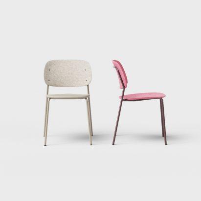Hale PET Felt stack chair - designed by Ivan Kasner & De Vorm - beige and pink