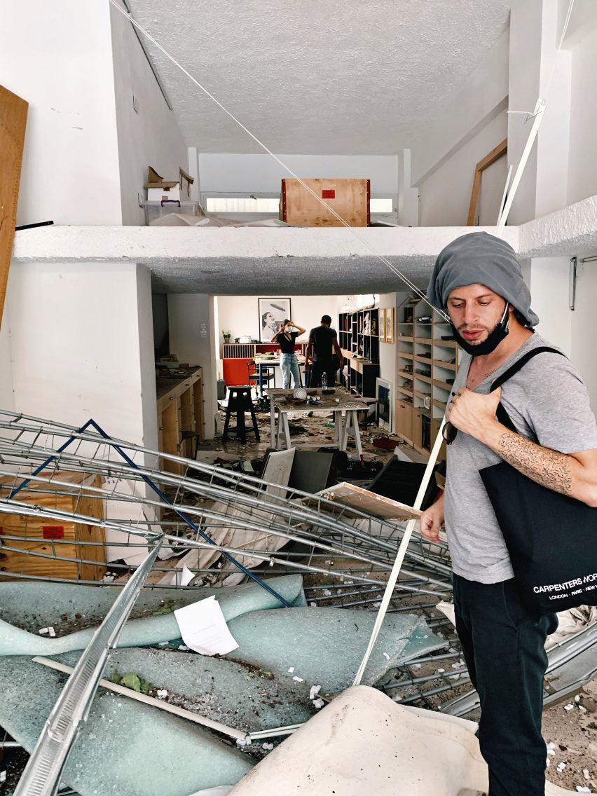 Estúdio David / Nicolas após a explosão em Beirute