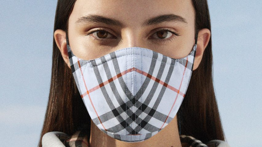 Burberry face masks are made of plaid cotton