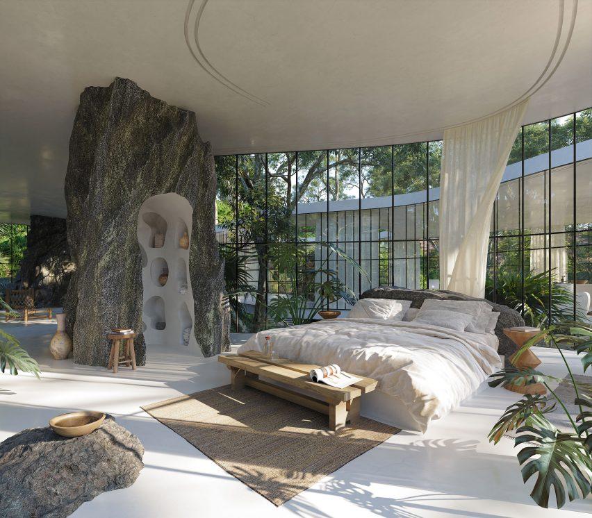 Casa Atibaia renderings designed by Charlotte Taylor and Nicholas Préaud