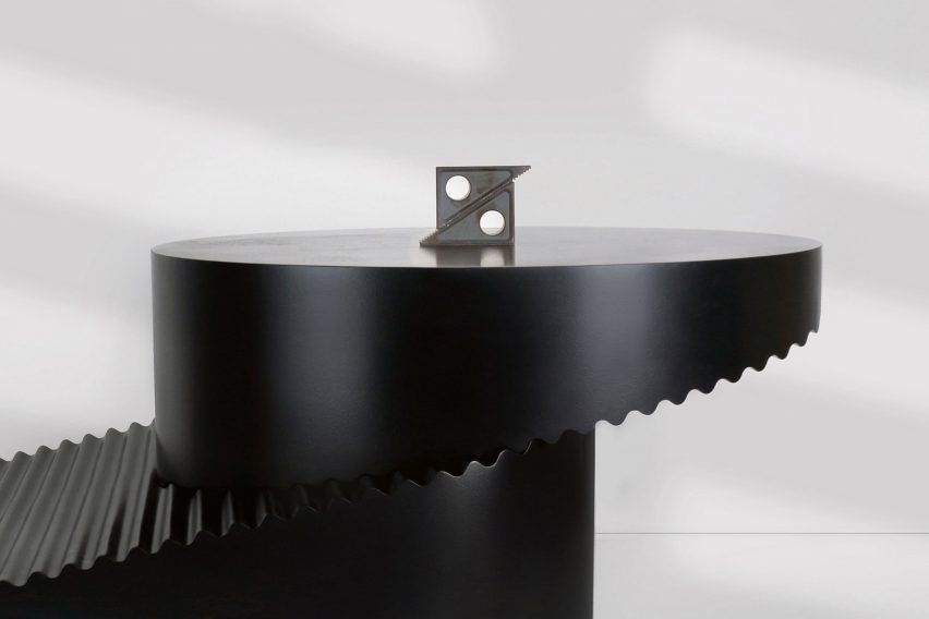 Erika Cross models convertible Step table after industrial tools