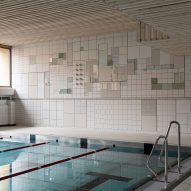 Folkform bases ceramic tile mural for public swimming pool on Spånga town plan