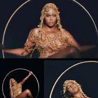 Beyoncé swings from Lee Broom's Hanging Hoop Chair in Black is King visual album