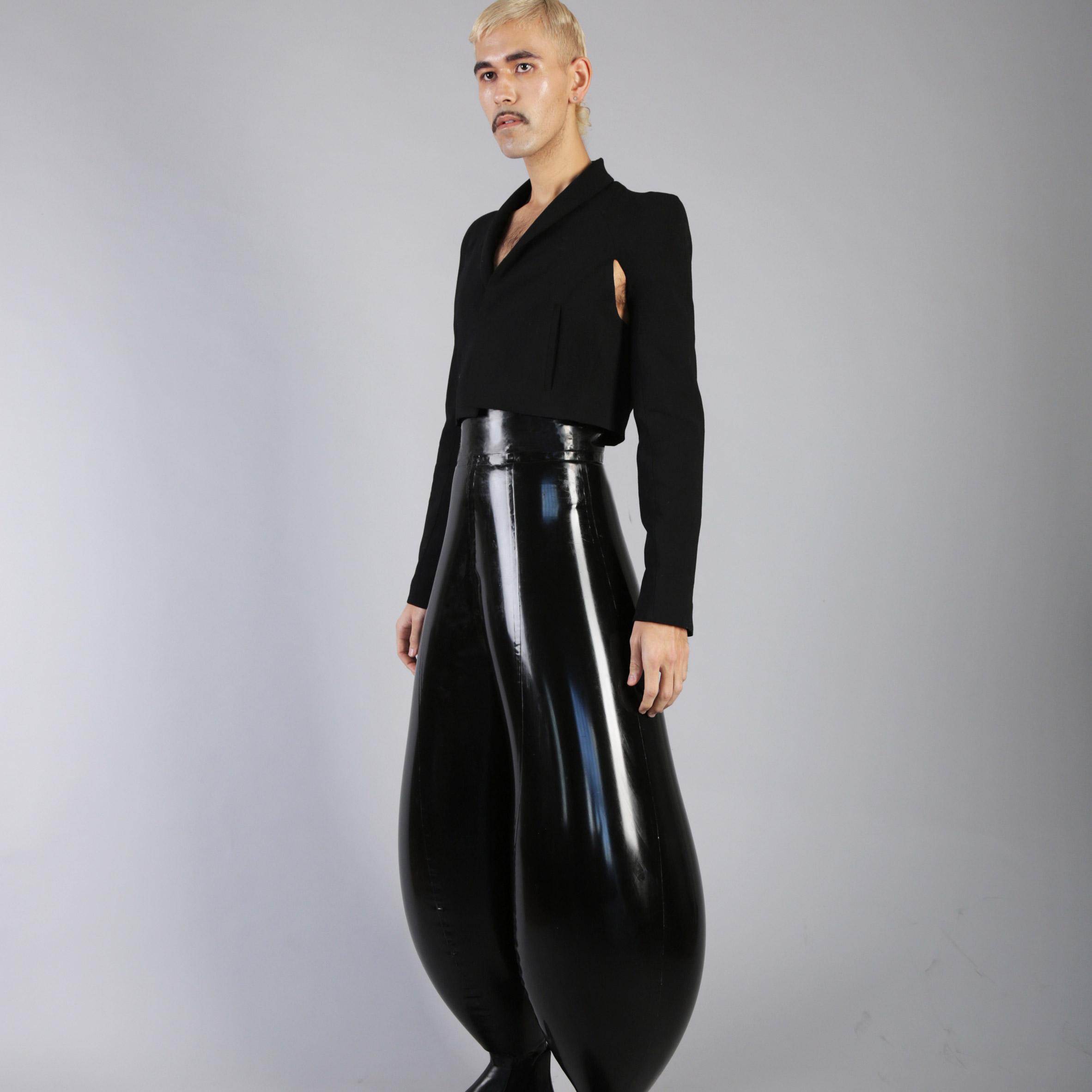 Harikrishnan inflatable latex trousers