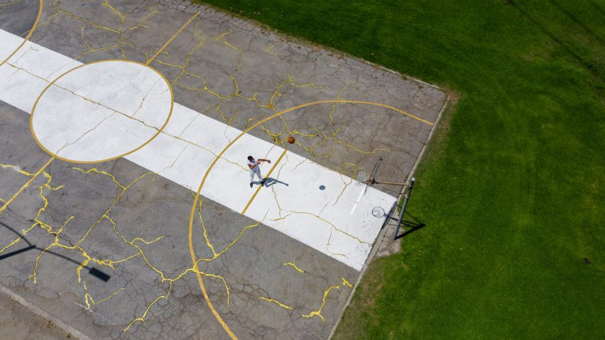Victor Solomon mends LA basketball court using Japanese art of Kintsugi