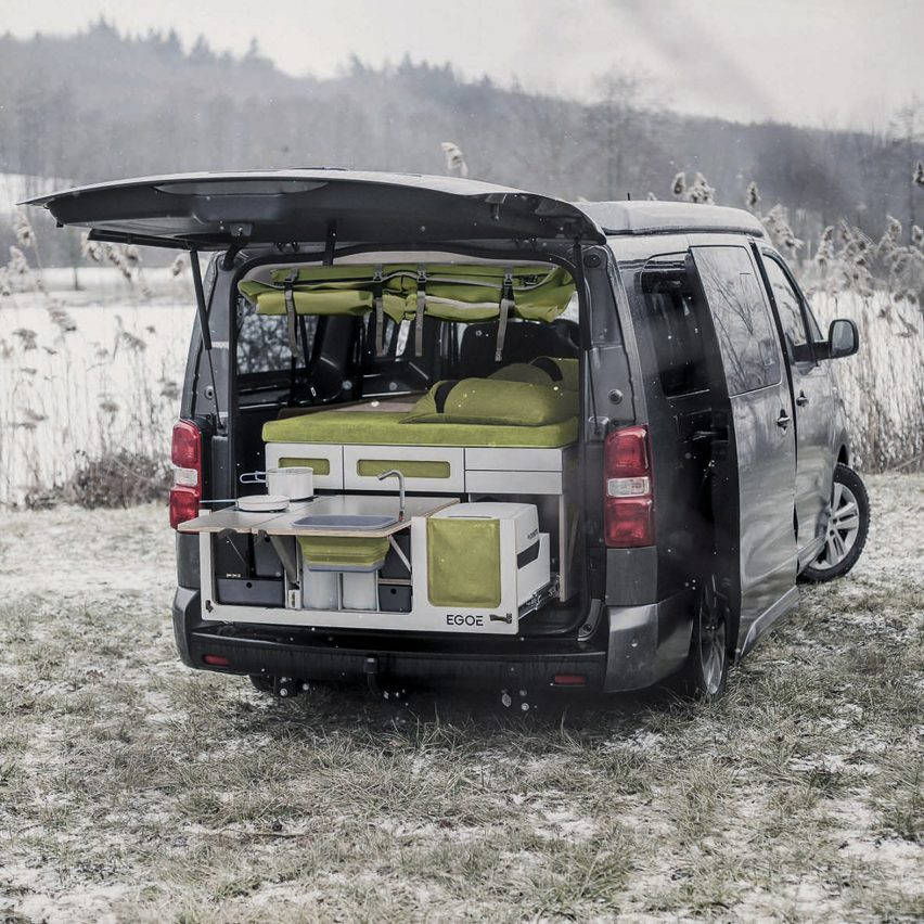 Nestbox is a modular trunk extension that turns cars into campers by Czech firm Studio 519