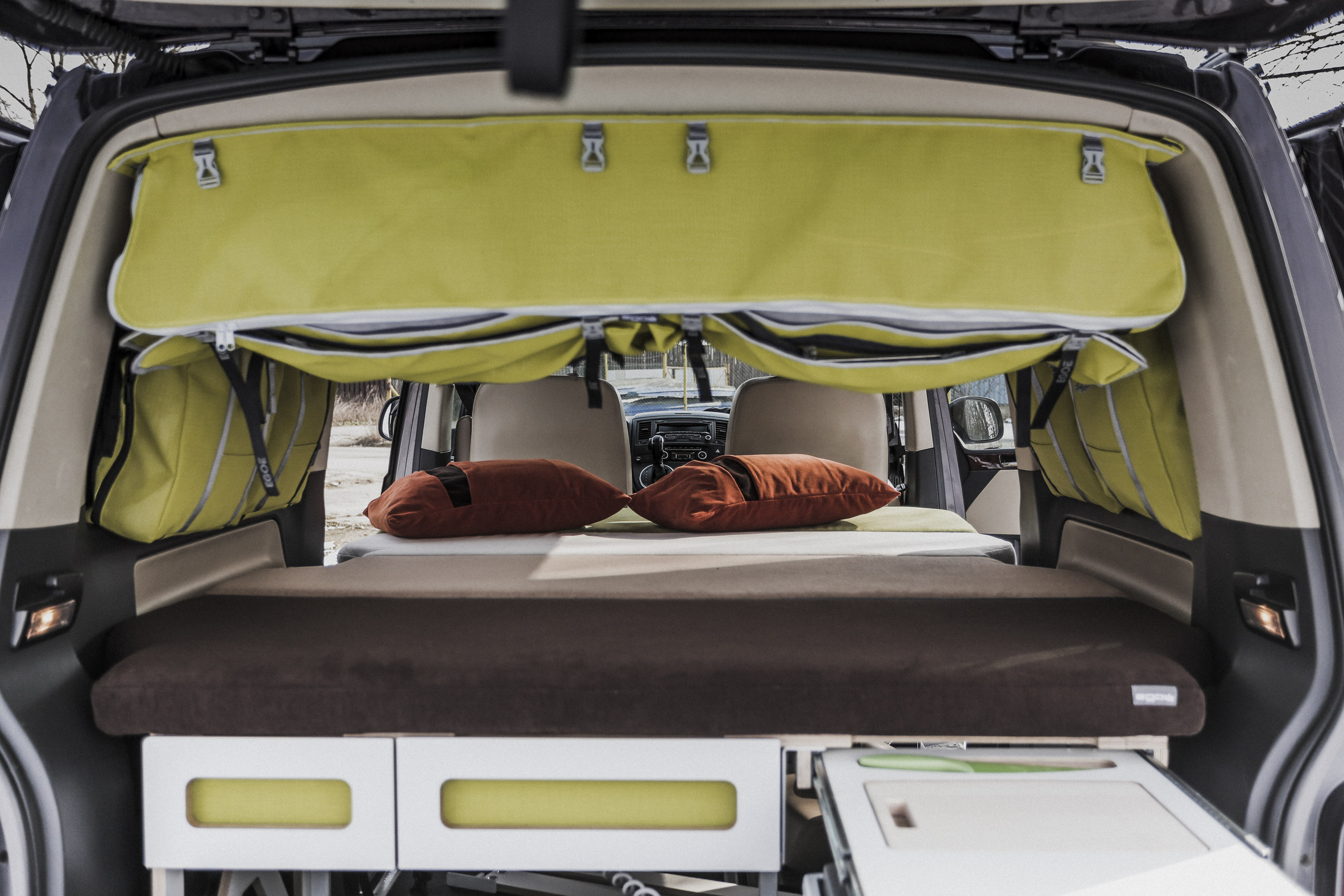 Nestbox is a modular trunk extension that turns cars into campers